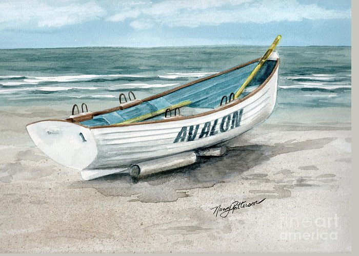 Lifeguard Boat Greeting Card featuring the painting Avalon Lifeguard Boat by Nancy Patterson