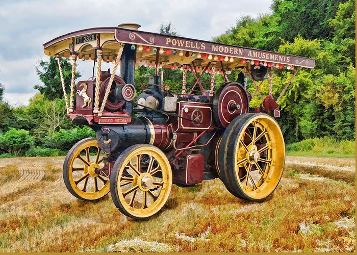 Traction Greeting Card featuring the digital art Aveling And Porter Showmans Tractor by Paul Gulliver