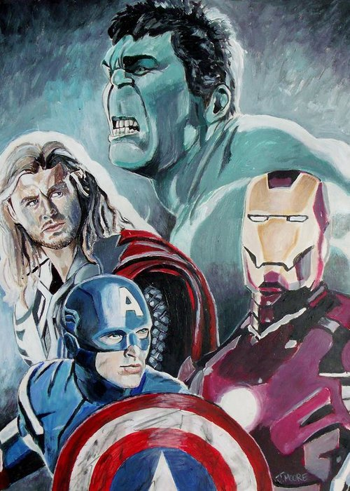 Avengers Greeting Card featuring the painting Avengers by Jeremy Moore