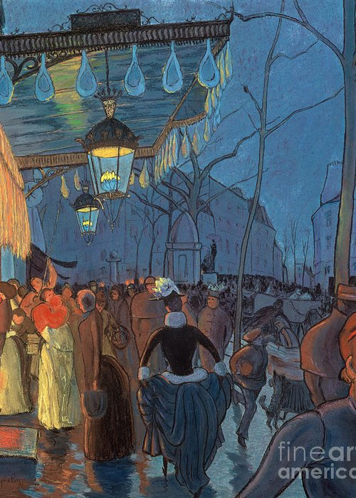 Evening Greeting Card featuring the pastel Avenue De Clichy Paris by Louis Anquetin