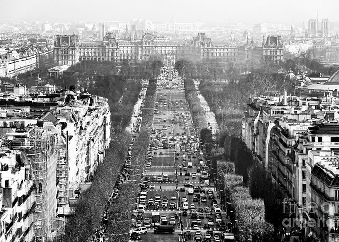 Avenue Des Champs-elysees Greeting Card featuring the photograph Avenue Des Champs-elysees by John Rizzuto