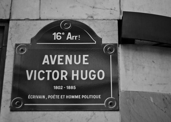 Victor Hugo Greeting Card featuring the photograph Avenue Victor Hugo Paris Road Sign by Georgia Fowler