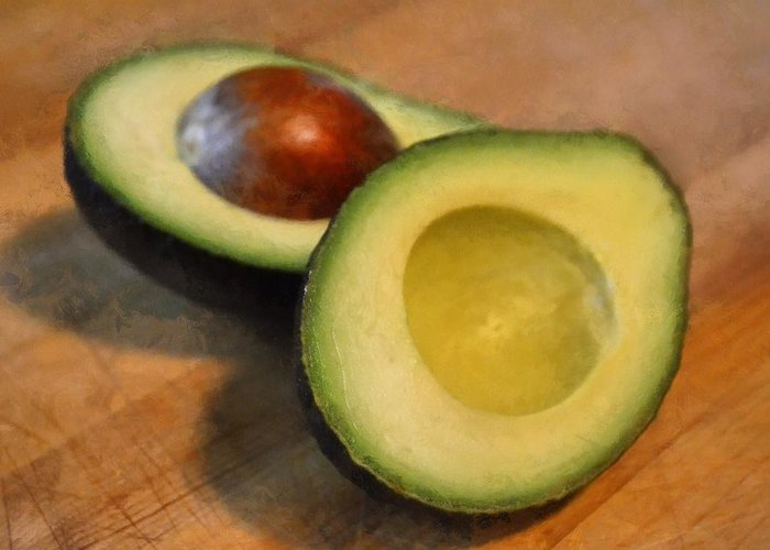 Kitchen Greeting Card featuring the photograph Avocado by Michelle Calkins