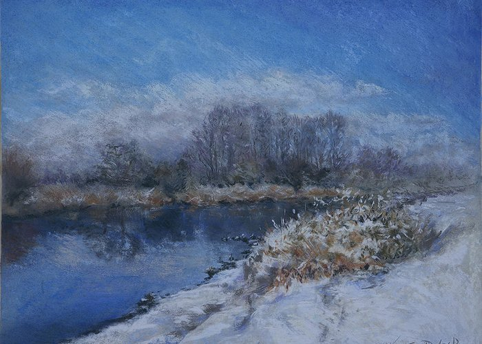 River Greeting Card featuring the painting Avon In The Snow by Kathryn Dalziel