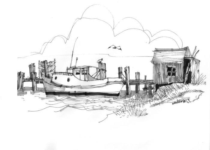 Ocracoke Greeting Card featuring the drawing Awaiting Bluefish Run Ocracoke Nc 1970s by Richard Wambach