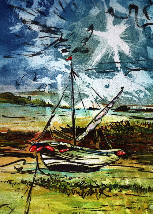 Seascape Greeting Card featuring the mixed media Awaiting the Tide by William Rowsell