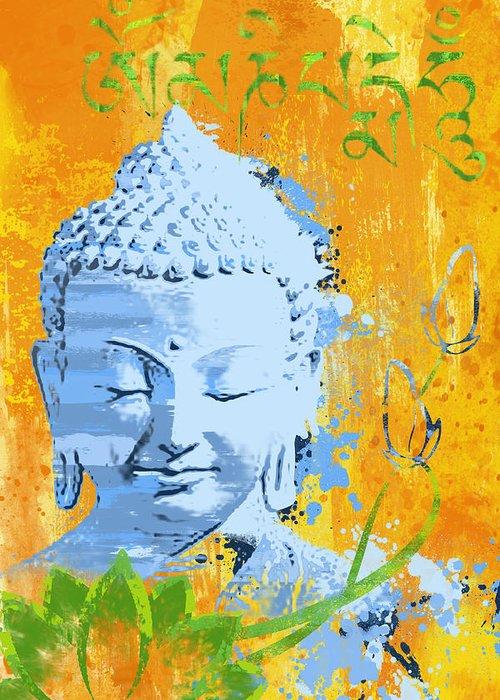 Awakened One Greeting Card featuring the painting Awakened One Mantra by Ryan Burton