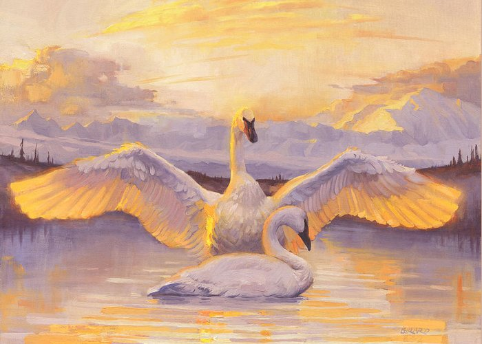 Swans Greeting Card featuring the painting Awakening by Francois Girard