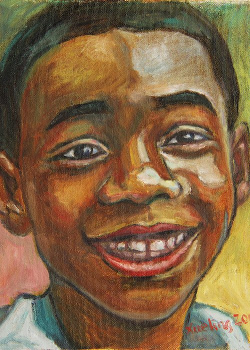 African American Greeting Card featuring the painting Award Day by Xueling Zou