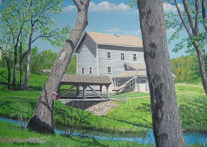 Award-winning Greeting Card featuring the painting Award-winning Painting Of Beckman's Mill by Norm Starks