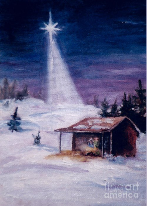 Christmas Greeting Card featuring the painting Away In A Manger by Brenda Thour