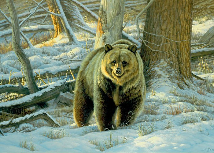 Wildlife Greeting Card featuring the painting Awesome Encounter by Paul Krapf
