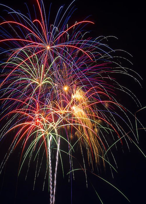 Awesome Fireworks Lights Up The Darkness Greeting Card featuring the photograph Awesome Fireworks by Garry Gay