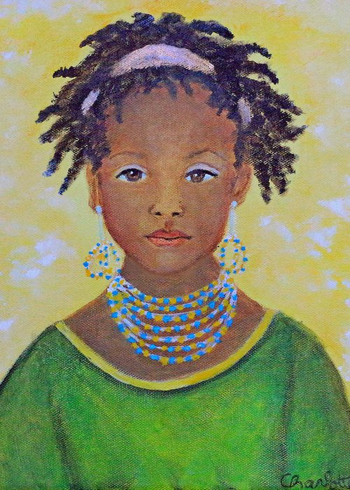 Africa Female Greeting Card featuring the painting Ayana Beautiful Flower by The Art With A Heart By Charlotte Phillips
