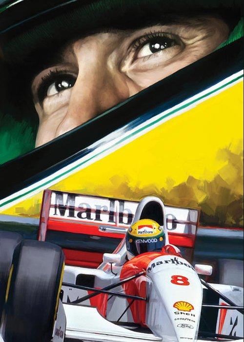 Ayrton Senna Artwork Greeting Card
