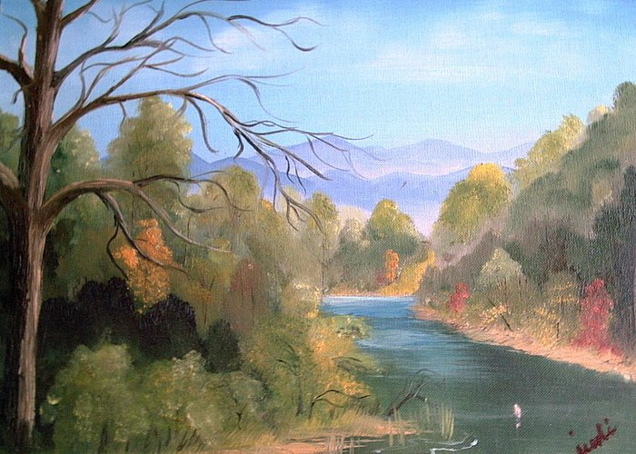 River Landscape Greeting Card featuring the painting Az High Country by Judi Pence