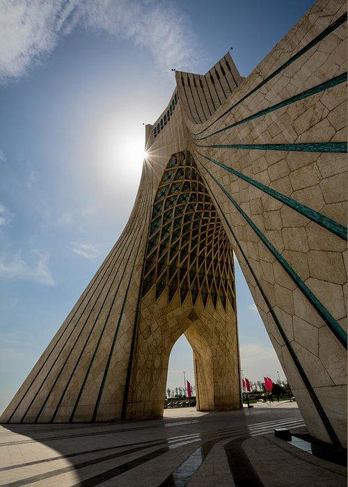 Azadi Greeting Card featuring the photograph Azadi Tower Tehran Iran by Niloufar Hoseinzadeh