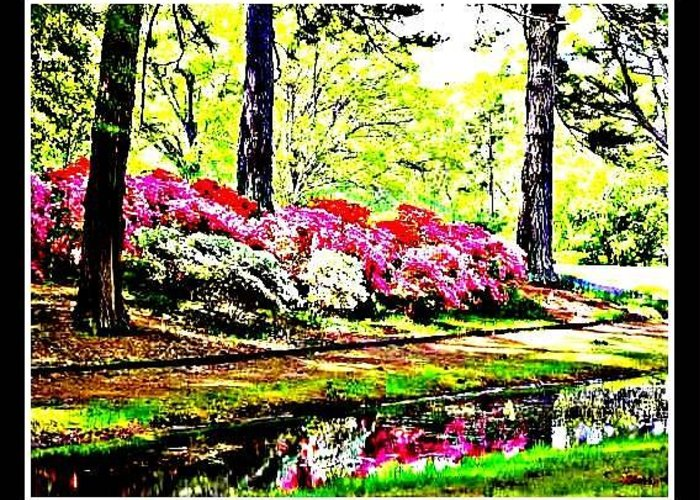 High Definition Photograph Greeting Card featuring the photograph Azaleas On Creek by Kristy Cotone