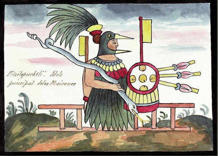 Huitzilopochtli Greeting Card featuring the photograph Aztec Deity Huitzilopochtli by Library Of Congress