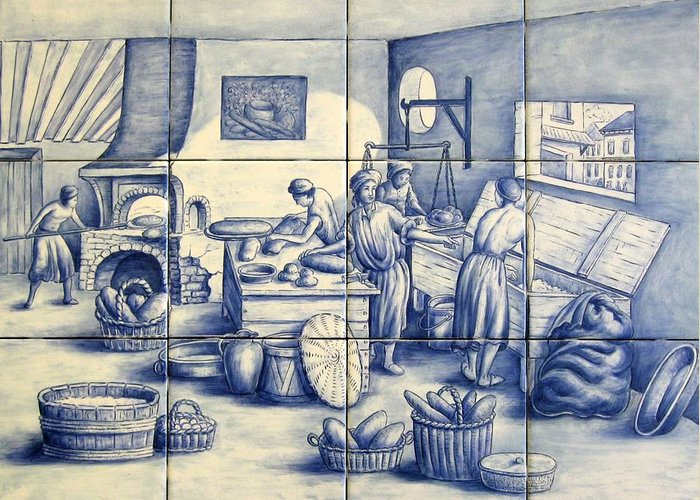 Azulejo Greeting Card featuring the painting Azulejo Portuguese Bakers Tile Mural by Julia Sweda