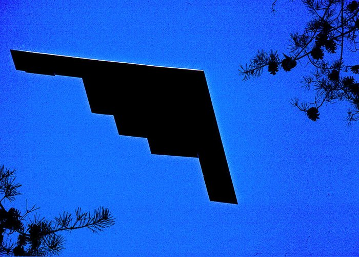 Northrop Grumman Greeting Card featuring the photograph B-2 Fly Over by Mike Flynn