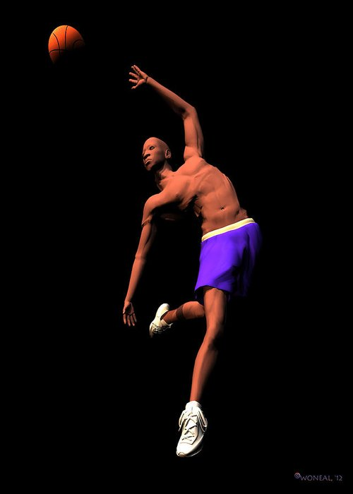Figures Greeting Card featuring the digital art B Baller 2 by Walter Oliver Neal