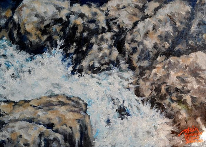 Oil Paints Greeting Card featuring the painting Babbling Brook by Peter Paul Christian Mahilum