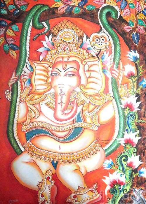 Canvas Greeting Card featuring the painting Baby Ganesha Swinging On A Snake by Jayashree
