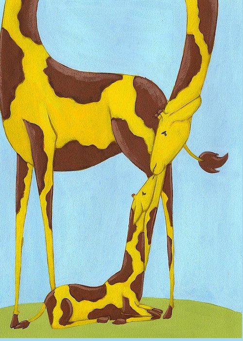 Giraffe Greeting Card featuring the painting Baby Giraffe Nursery Art by Christy Beckwith
