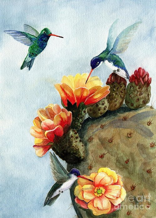 Hummingbirds Greeting Card featuring the painting Baby Makes Three by Marilyn Smith