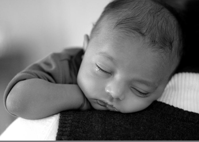 Baby Sleeps Greeting Card featuring the photograph Baby Sleeps by Lisa Phillips