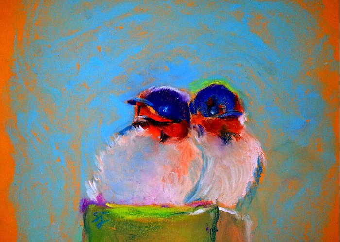 Swallows Greeting Card featuring the painting Baby Swallows by Sue Jacobi