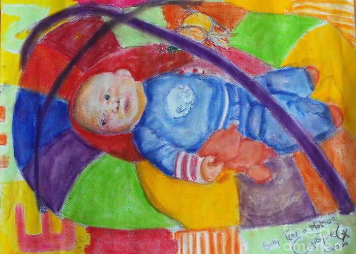 Baby Portrait Greeting Card featuring the mixed media Baby Ted In Motion by Caroline Cunningham