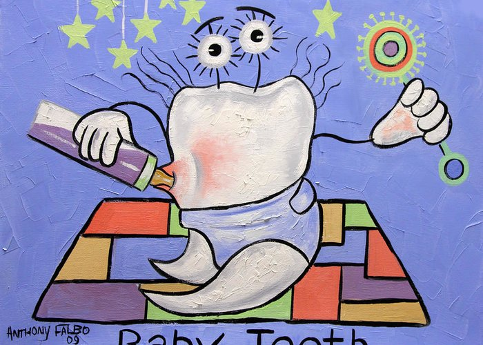 Baby Tooth Greeting Card featuring the painting Baby Tooth by Anthony Falbo