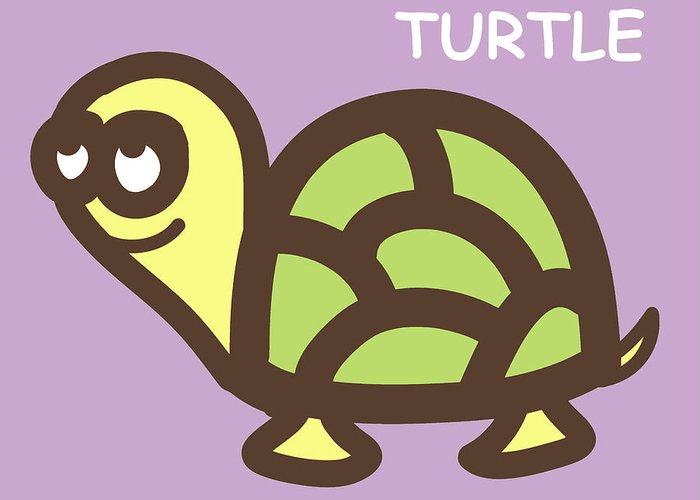 Turtle Greeting Card featuring the digital art Baby Turtle Nursery Wall Art by Nursery Art