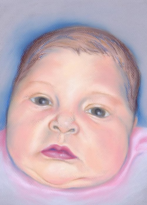 Portrait Greeting Card featuring the pastel Baby With Wide Eyes And Chubby Cheeks by MM Anderson