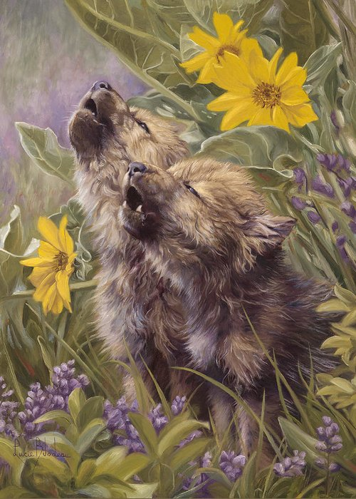 Wolf Greeting Card featuring the painting Baby Wolves Howling by Lucie Bilodeau