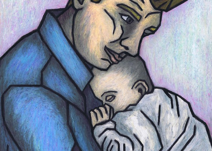 Baby\'s Lullaby Greeting Card featuring the painting Baby's Lullaby by Kamil Swiatek