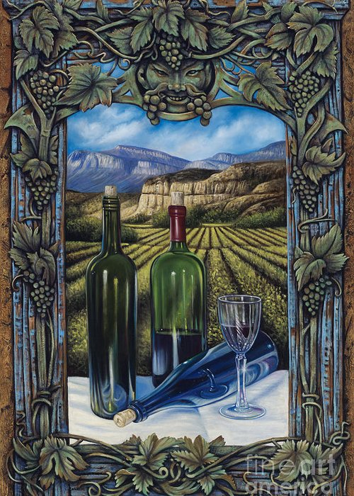 Wine Greeting Card featuring the painting Bacchus Vineyard by Ricardo Chavez-Mendez