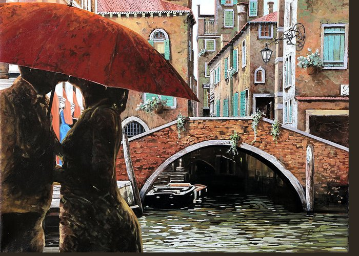 Canal Scene Greeting Card featuring the painting Baci Tra Le Calli by Guido Borelli