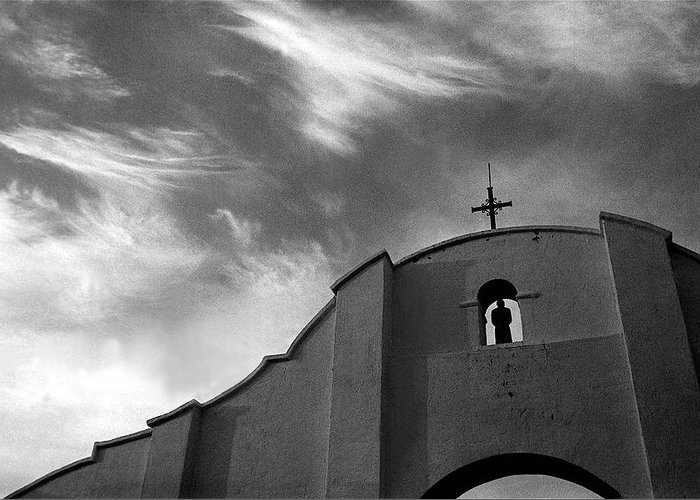 San Xavier Mission Tucson Arizona Ted Degrazia Rear Entrance Arch Greeting Card featuring the photograph Back Entrance Arch San Xavier Del Bac Mission 1979 by David Lee Guss