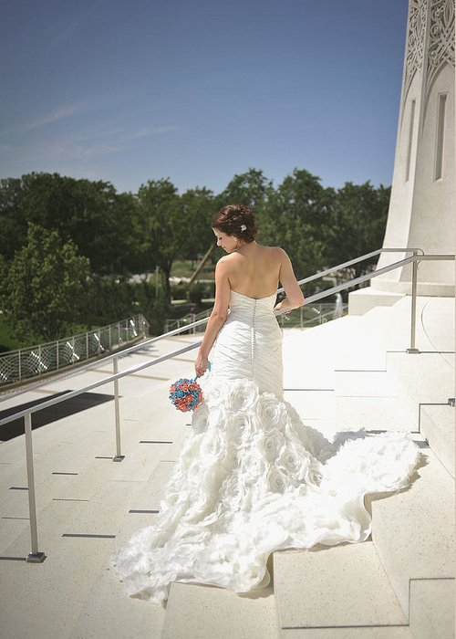 Bride Greeting Card featuring the photograph Back Of Bride At Baha'i Temple by Mike Hope