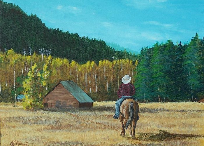 Landscape Greeting Card featuring the painting Back To The Barn by Gene Ritchhart