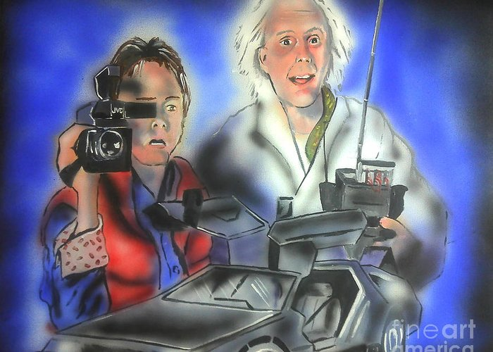 Movie Greeting Card featuring the painting Back To The Future by Jacob Logan