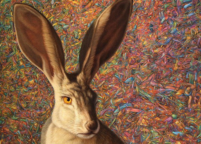 Rabbit Greeting Card featuring the painting Background Noise by James W Johnson