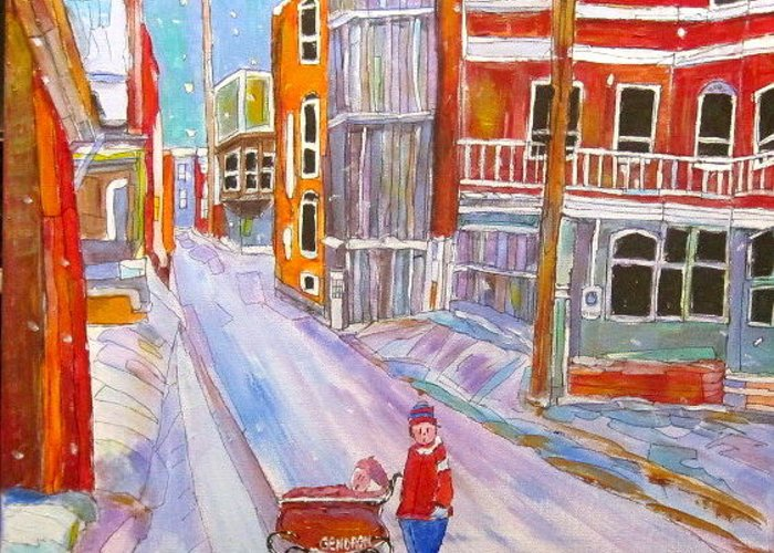 Backlane Greeting Card featuring the painting Backlane Snow by Michael Litvack