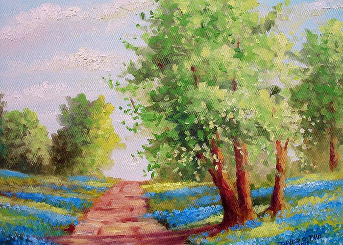 Bluebonnets Greeting Card featuring the painting Backroad Bluebonnets by David G Paul