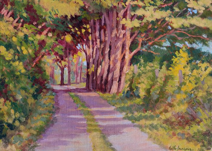 Road Greeting Card featuring the painting Backroad Canopy by Keith Burgess