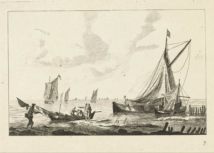 Sailing-ship Greeting Card featuring the drawing Backwater With Sailboats And Fishermen On The Shore by Anonymous And Reinier Nooms