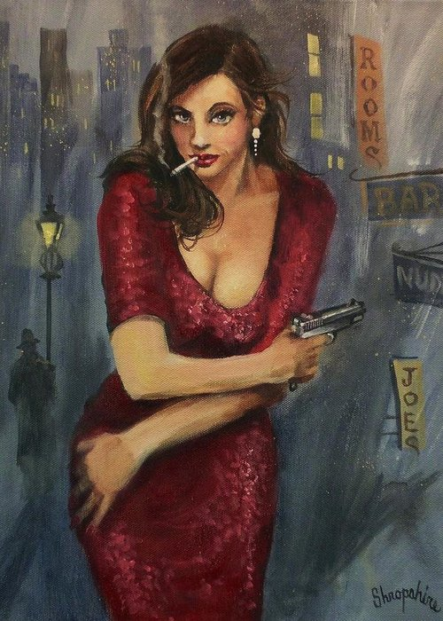 City At Night Greeting Card featuring the painting Bad Girl by Tom Shropshire